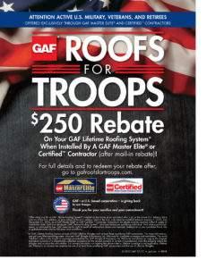 Roofs for Troops Rebate