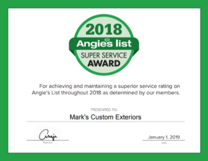 MCE Roofing Receives Certificate from Angie's List for 2018 Super Service Award