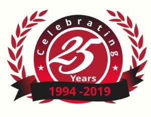 MCE Celebration stamp for 25 years in business