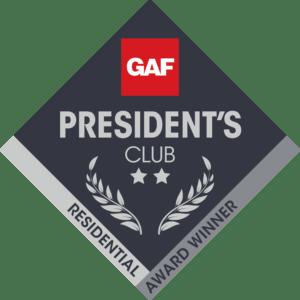MCE Roofing GAF President's Club Award
