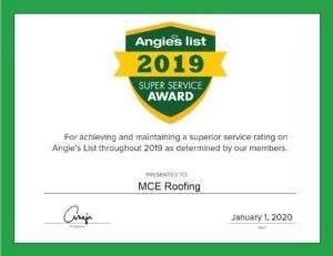 2019 Angie's List Super Service Award Certificate to MCE Roofing