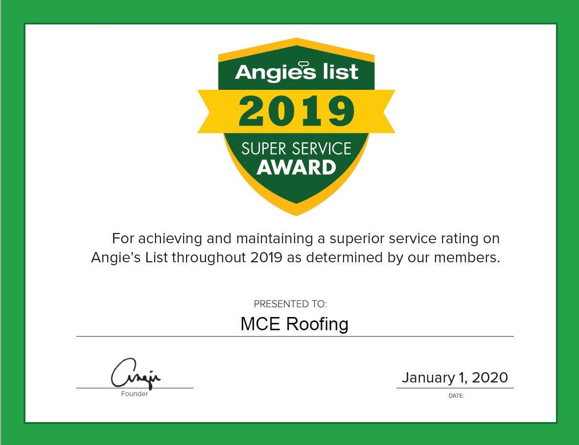 MCE Receives Angie's List 2019 Super Service Award
