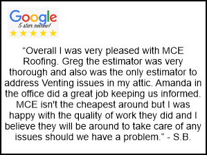 MCE Roofing 5 Star Google Reviews